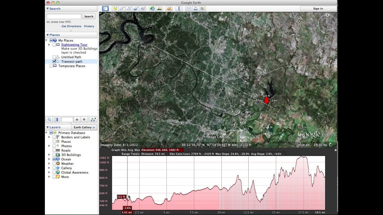 How To Create A Elevation Transect In Google Earth YouTube - Google earth elevation data