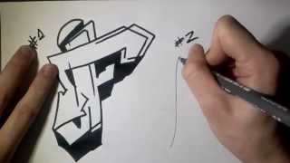 "How to draw Graffiti Letter ""F"" on paper"