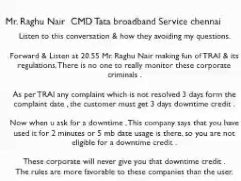Tata Broadband Service chennai - Raghu Nair CMD - Corporate criminals