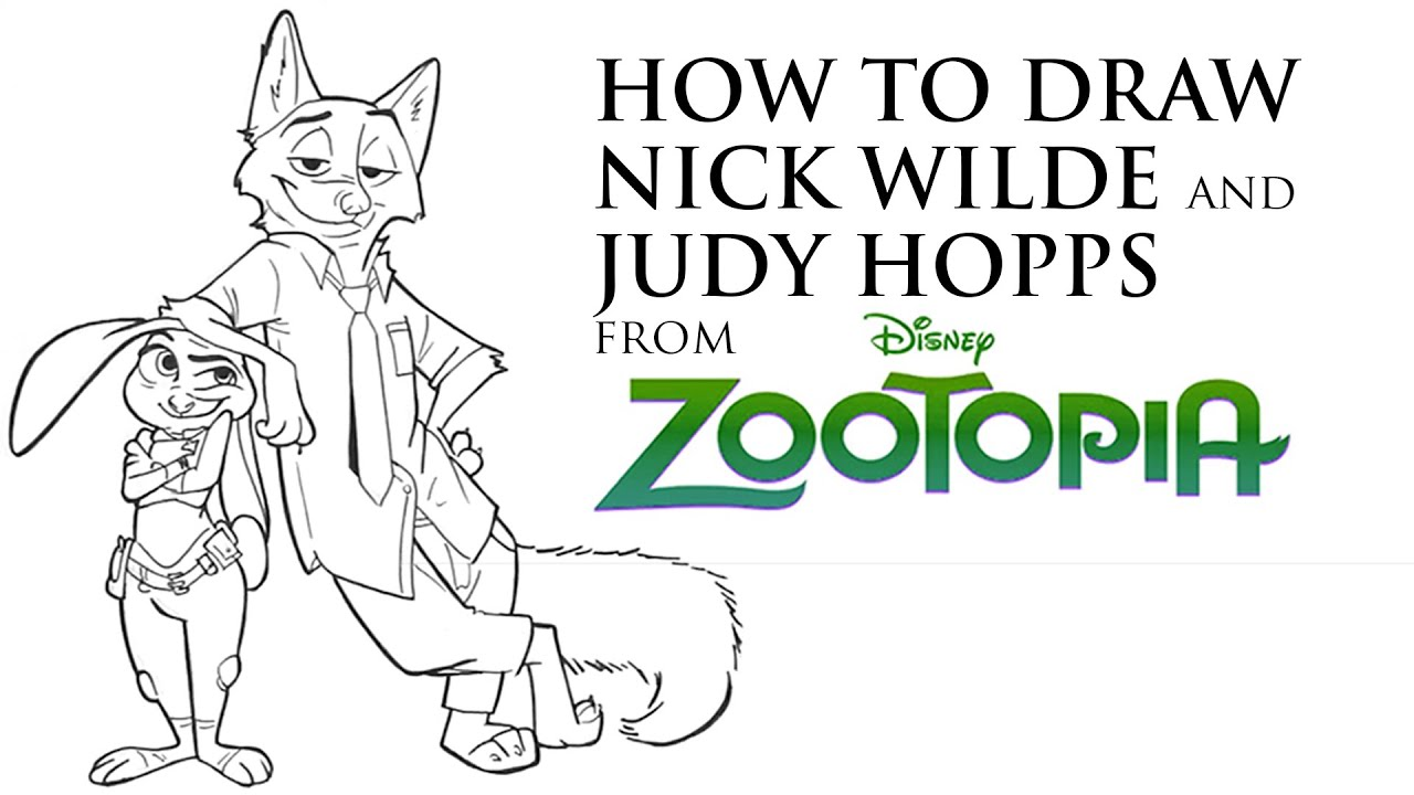 How I Draw Disney Characters Nick Wilde And Judy Hopps From