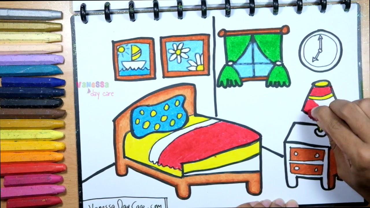Menggambar Kamar Tidur Yang Cantik Tutorial Mewarnai Untuk Anak Paud
