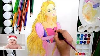Disney Rapunzle Barbie How to Draw and Color Barbie Glitter Coloring Page   #part 204