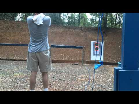 Shooting 1917 DWM Luger 9mm at metal plates