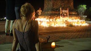 Raw: Candles Around Jefferson Statue After Vigil