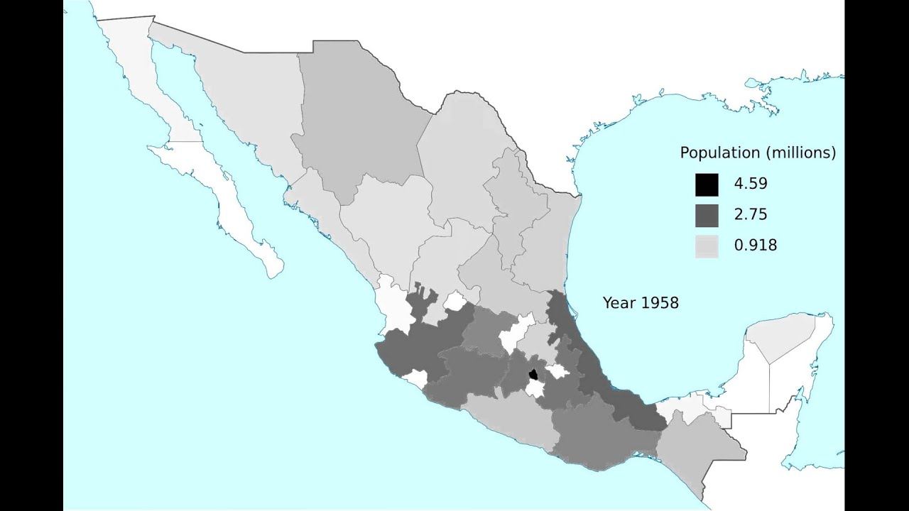 Population distribution in Mexico 18952010 YouTube