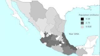 Population distribution in Mexico, 1895-2010