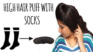 High hair puff hairstyle with socks for thin hair