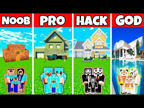 Minecraft: FAMILY MODERN GREAT MANSION BUILD CHALLENGE - NOOB Vs PRO Vs HACKER Vs GOD In Minecraft
