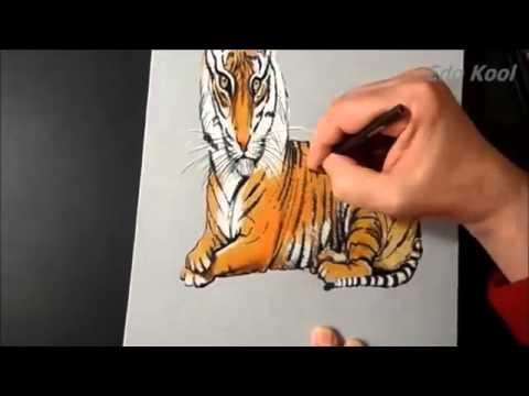 Cara Membuat Gambar Harimau 3 Dimensi Menggunakan Pensil Youtube