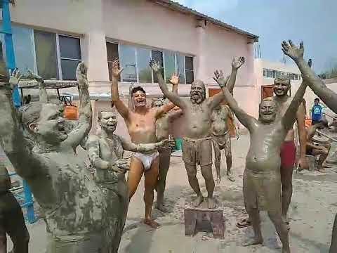 Laughter Yoga Class while doing Mud bath at Yoggram, Shahkot Yoga