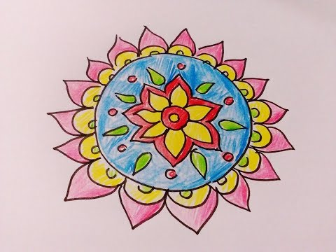 Download How To Draw Rangoli Designs On Paper With Pencil Colors