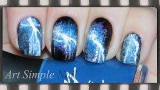 Молния Маникюр в домашних условиях (роспись ногтей)  | Storm, Electric Lightning Nail Art