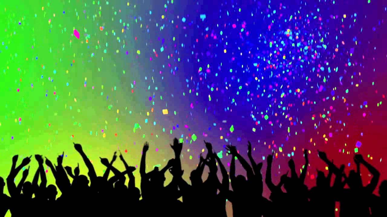 Party Crowd Silhouettes Amp Confetti Looping Background