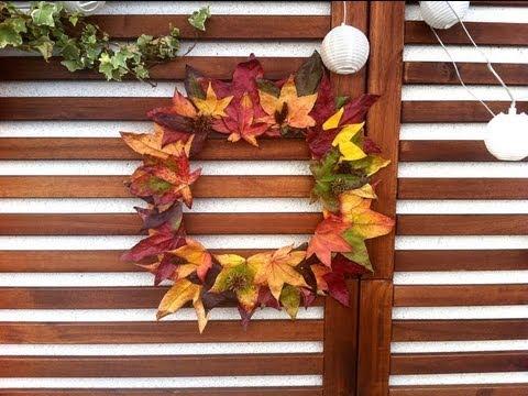 C mo hacer una corona oto al de hojas secas youtube - Como hacer coronas de navidad ...