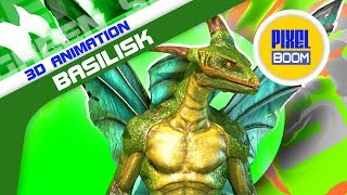 Green Screen Basilisk Monster Lizard - 3D Animation PixelBoom