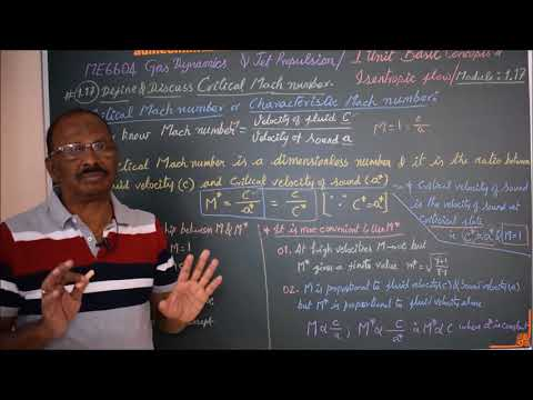 Define Critical Mach number - M1.17 - Gas Dynamics and Jet Propulsion in Tamil