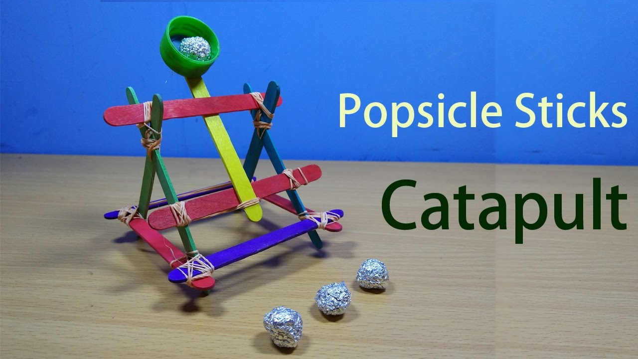 How to make a Popsicle sticks catapult   Build a mini catapult - YouTube
