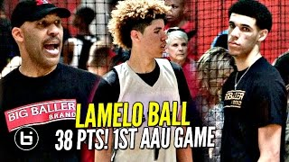 LaMelo Ball Gets SAUCY in 1st AAU Game W/ LaVar Coaching & Lonzo Watching!! Melo Leads Team Win!!