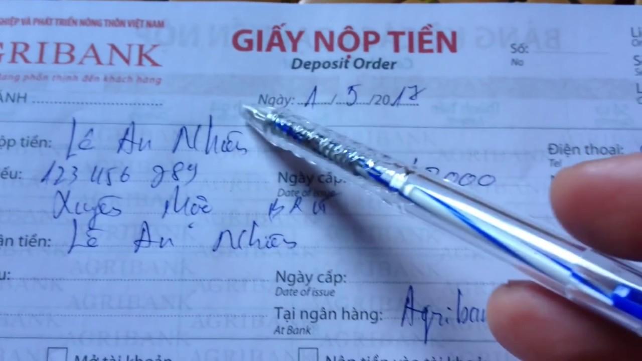 Agribank : cách ghi giấy chuyển tiền | nộp tiền vào thẻ ATM