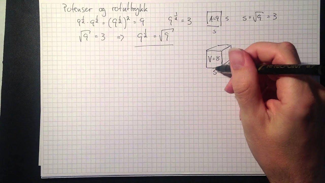 Matematikk 1T: Potenser med brøkeksponenter.  n-terøtter