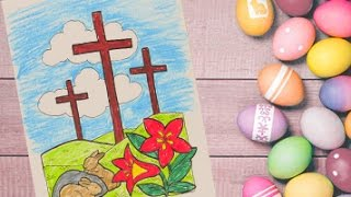 Jesus Christ Cross coloring pages for kids | Easter colouring and painting pages for kids