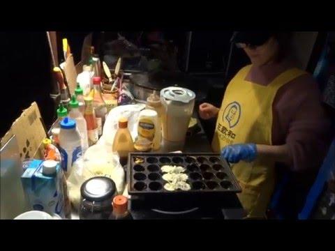 Japanese Okonomiyaki & Octopus Takoyaki, Chinese Spicy Squid & Noodles - Street Food in Chinatown.