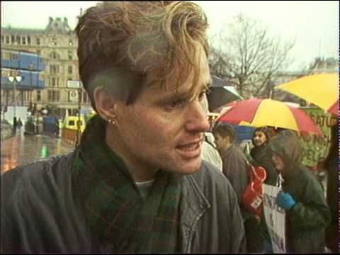 Pickets protesting outside South African Embassy 1989