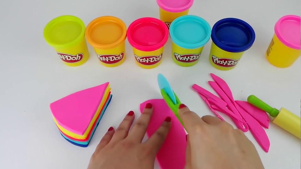 UN GÂTEAU COLORÉ PLAY DOH Des créations avec de la pâte à modeler Play Doh - YouTube