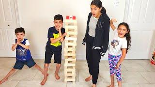 Jenga Giant Game Challenge with HZHtube Kids Fun