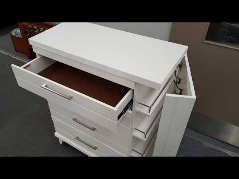 Tallboy Katy 5 Drawer with Hidden Side Cabinet in White Colour