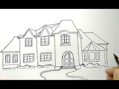 Pemandangan Cara Menggambar Rumah Mewah
