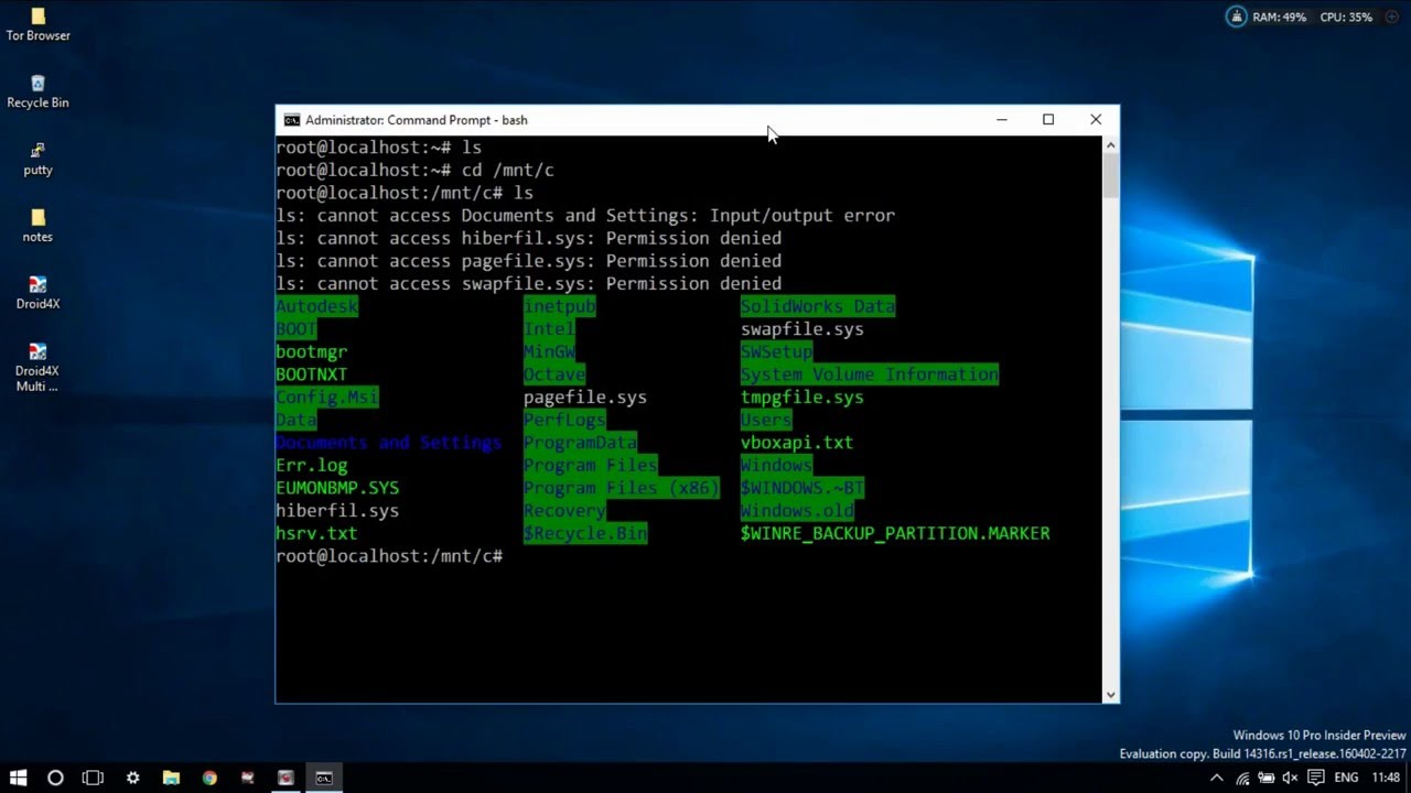 Run native Bash shell on Ubuntu on Windows 10 Insider Preview | Ubuntu |  Linux Subsystem