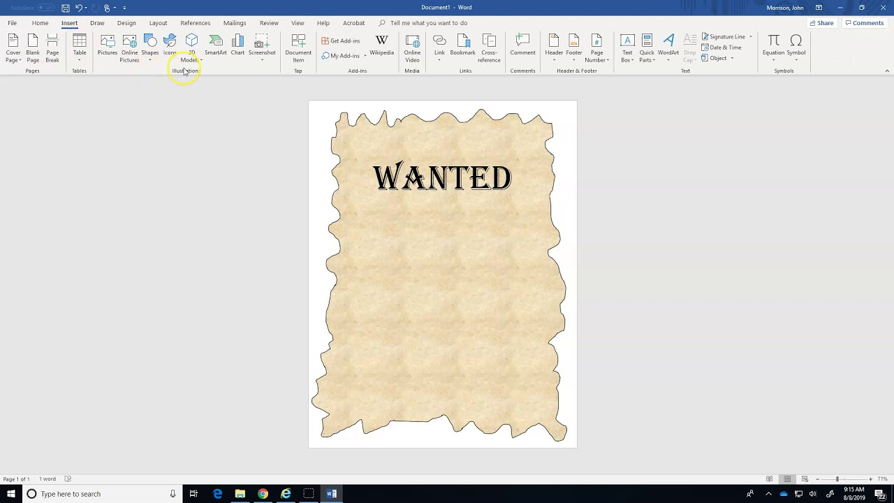 Ms Word Wanted Poster Youtube