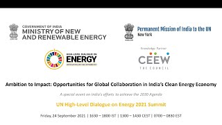 MNRE-PMI-NY-CEEW India Event | UN HLDE 2021 | Global Collaboration in India's Clean Energy Economy