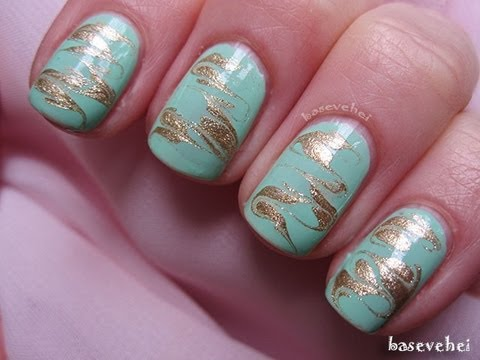 Gold Amp Mint No Water Marble Nails Tutorial Złoto