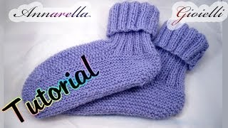 Repeat youtube video Tutorial scarpe da notte ai ferri | How to knit socks