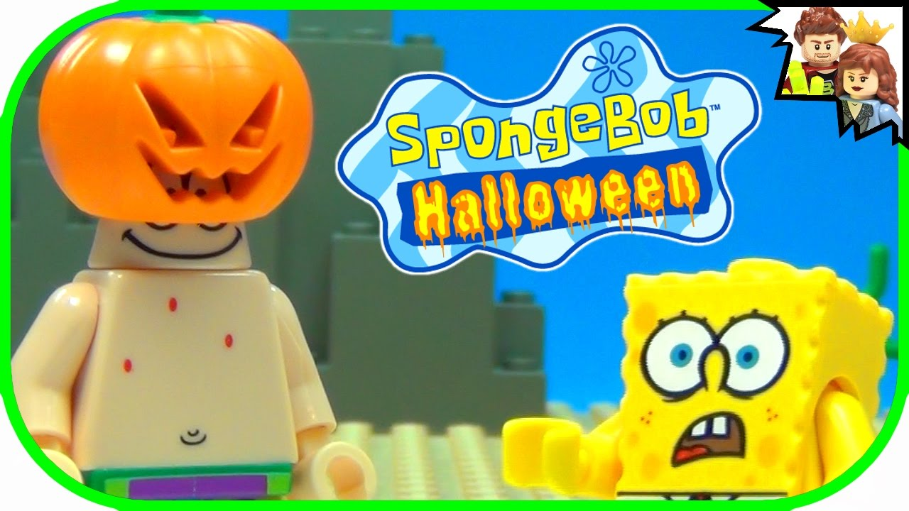 spongebob squarepants and patrick first halloween | lego story - youtube