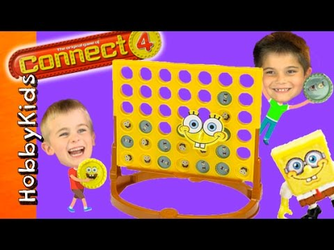 CONNECT 4 Game! Night Family Fun + SpongeBob Imaginext Toys HobbyKidsTV