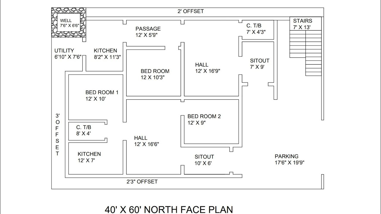 60 40 Floor Plans: 40 × 60 North Face 2 Portion House Plan Map Naksha