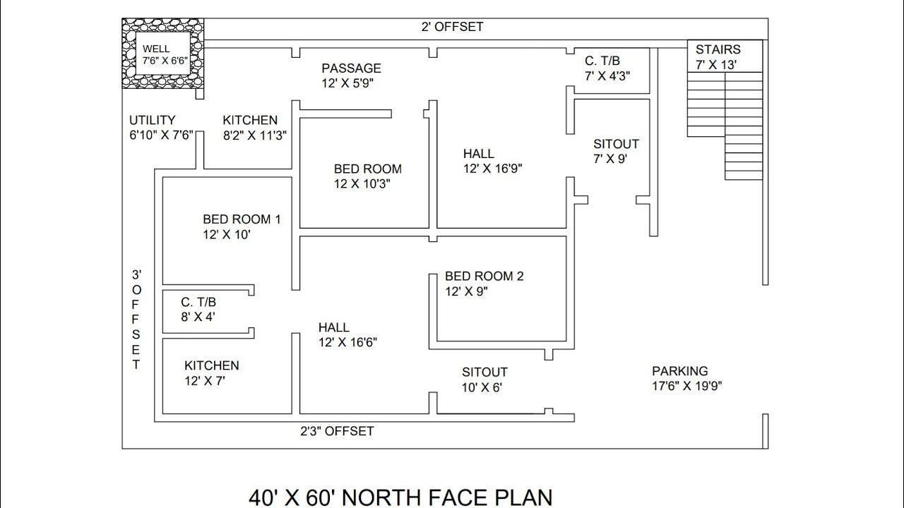 40 × 60 North Face 2 Portion House Plan Map Naksha
