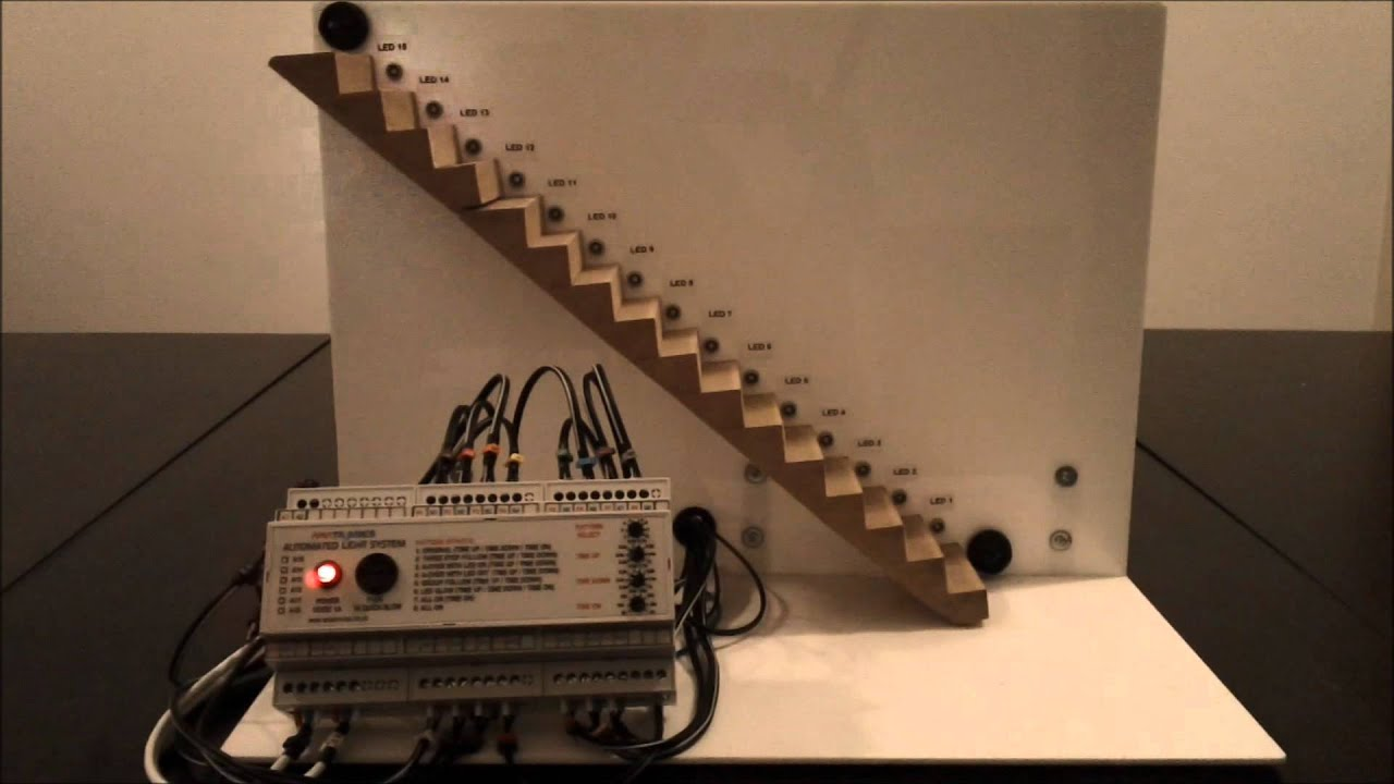 Lighting Basement Washroom Stairs: Ariatronics MH-1 Automatic Stair Lighting Demo
