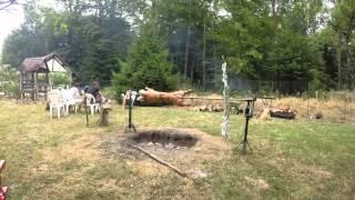 Porcelet / cochon (22kgs) avec tourne broche fabriqué maison !! (Montage vidéo du 19/07/15)