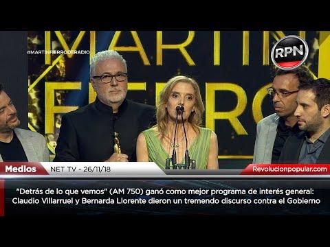 Excelente discurso de Claudio Villarruel y Bernarda Llorente tras ganar el Martín Fierro de Radio