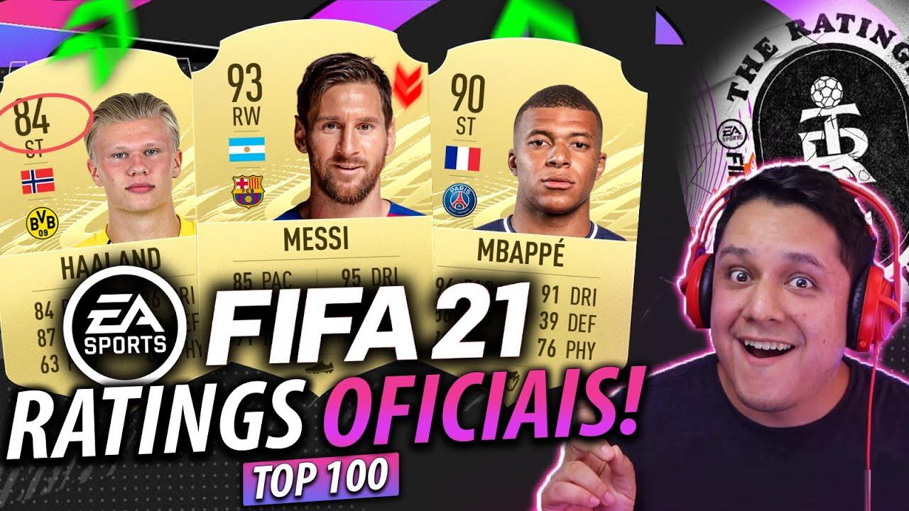 FIFA 21 RATINGS OFICIAIS! Top 100 MELHORES Jogadores! FT. Messi, Haaland, Mbappé e MAIS! ?⚽?