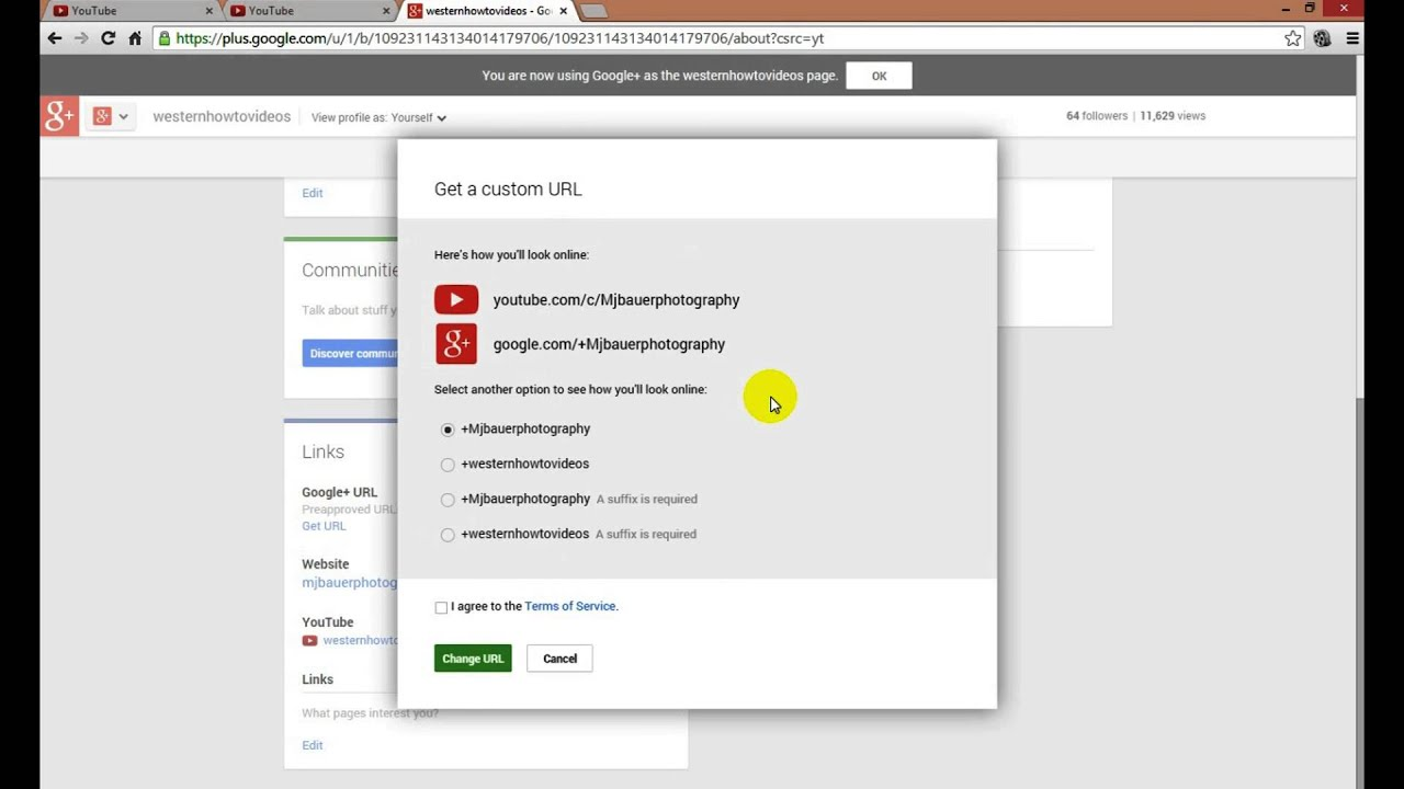 how to get a youtube custom url   youtube