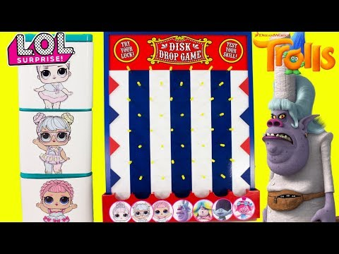 DISK DROP GAME LOL Surprise Dolls VS Trolls Chef Toy Surprises Boxes