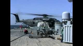 MH-53E performs DLQs on USS Wisconsin (BB-64).