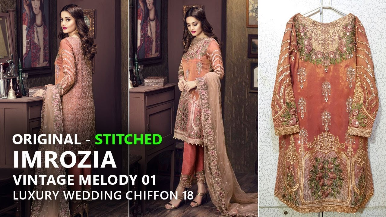 e447baf85ec75 Imrozia Chiffon Collection 2018 - Stitched 01 The Vintage Melody -  Pakistani Branded Dresses