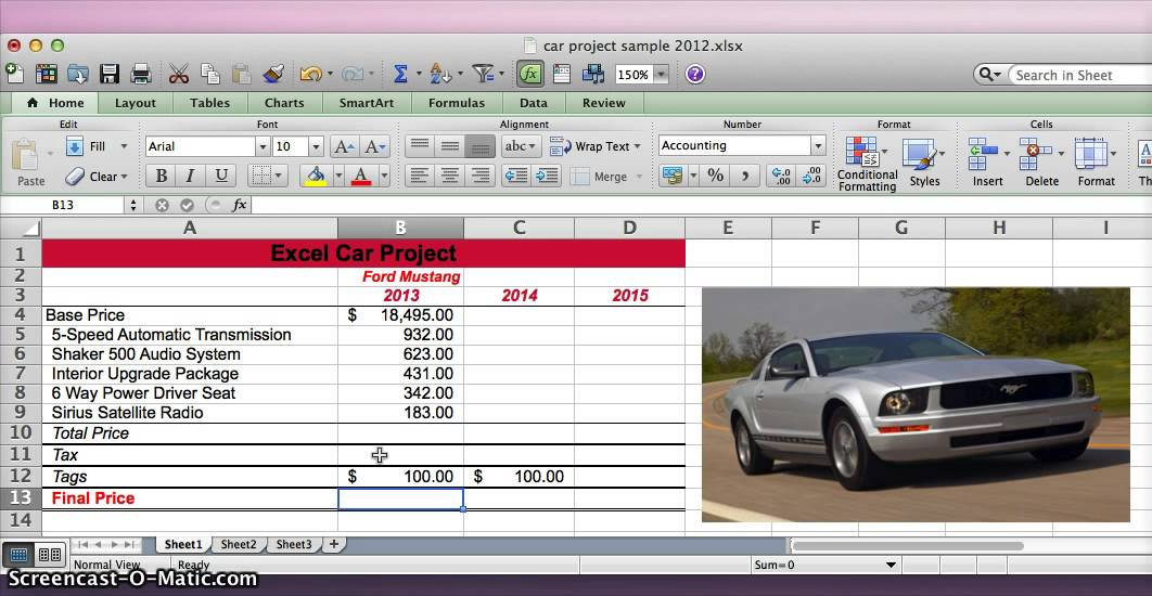 Excel Car Project - YouTube