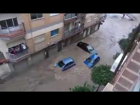 Flash flooding in Rambla del Espinardo, Murcia, Spain